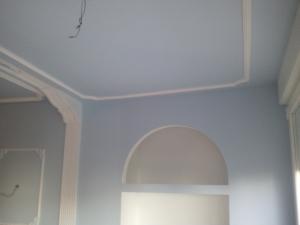 Pintura plastica Azul y Moldura Escayola Blanca